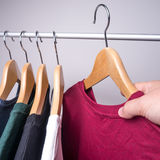 Hangers with t-shirts Stock Photo