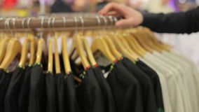 Hangers with the Ukrainian national clothes.  stock video footage