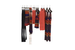 Hangers with woman clothes Royalty Free Stock Photo