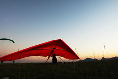 Hangglider  at dawn Royalty Free Stock Photo