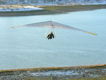 Hangglider and river. Winter Royalty Free Stock Photography