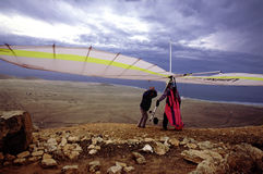Hanggliding at Lanzarote 1 Stock Images