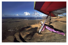 Hanggliding in Lanzarote 4 Stock Foto