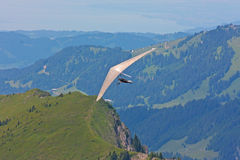 Hanggliding in Swiss Alps Stock Photo