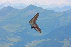Hanggliding in Swiss Alps Royalty Free Stock Photography