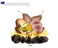 Hangi,传统新西兰毛利人食物 向量例证
