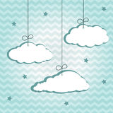 Hangiing clouds. Hanging clouds on chevron pattern. Vector illustration stock illustration