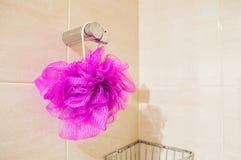 Hangin губки ванны на ливне Стоковое фото RF