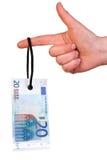 Hanging 20 Euro tag Stock Image