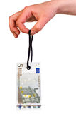 Hanging 5 Euro tag Royalty Free Stock Photography
