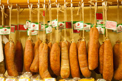 Hanging aged Sausage Stock Images