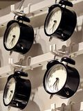 Hanging Alarm Clock. Black and White Color Royalty Free Stock Image