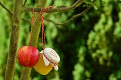 Hanging apple and huney bottle stock illustration