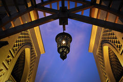 Hanging arabic lamp. Hanging decorative lamp of an arabic architecture Royalty Free Stock Photo