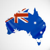 Hanging Australia flag in form of map. Commonwealth of Australia. National flag concept. Vector illustration Stock Photos