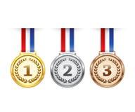 Hanging award medals set Royalty Free Stock Image