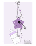 Hanging baby bottle, safety pin, star baby arrival card Royalty Free Stock Images