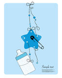 Hanging baby bottle, safety pin, star baby boy arrival card. Vector royalty free illustration