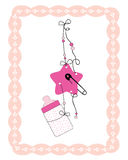 Hanging baby bottle, safety pin, star baby girl Stock Photography