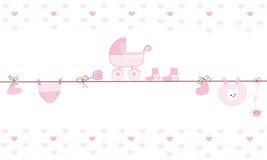 Hanging baby boy clothing symbols with ballon. Hanging baby clothing symbols with ballon vector background Stock Photos