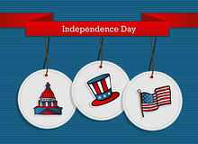 Hanging badges 4th july holiday Royalty Free Stock Images