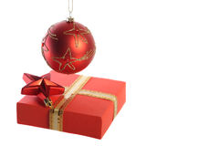 Hanging ball, star and gift box Stock Image