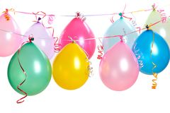Hanging balloons. Isolated on white royalty free stock photo