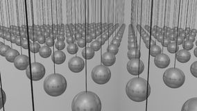 Hanging Balls. Reflective Newtons cradle balls, suspended in rows Royalty Free Stock Photo
