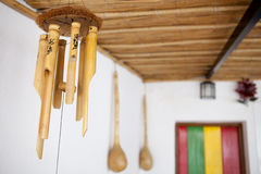Hanging bamboo wind chimes Stock Images