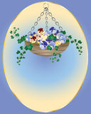 Hanging basket. An illustration of an easter hanging basket with pansy flowers and ivy Stock Image