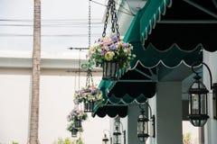 Hanging basket of flowers Stock Photo