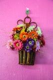 Hanging basket full of spring pansies Stock Photography