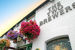 Hanging baskets at the two brewers pub Stock Photography