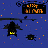 Hanging bat and spider. Starry night. Happy Hallow. Een card. Vector illustration Stock Photos