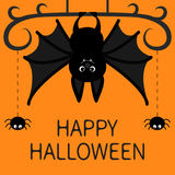 Hanging bat. Two spider dash line web. Happy Halloween card. Cute cartoon character with big wing, ears and legs. Black silhouette Royalty Free Stock Photography