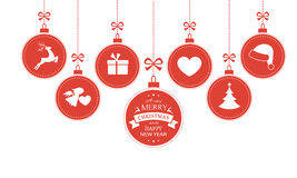 Hanging baubles with Christmas symbols Stock Images