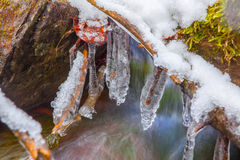 Hanging beautiful icicles Royalty Free Stock Photo