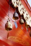 Hanging bells. Many bells hanging in a temple. When the wind blows it will be makes sound that make the mind calm Stock Photo