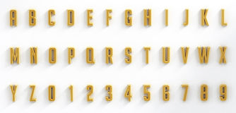 Hanging black letters and numbers isolated on white background Stock Images