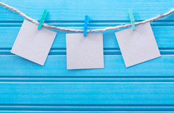 Hanging blank note tags Stock Photography