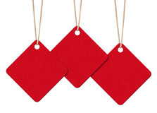 Hanging blank red tags Stock Photo