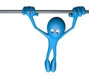 Hanging. Blue cartoon guy, hanging on a bar - 3d illustration Stock Photo