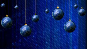 Hanging blue Christmas balls on a mosaic background. Vector art illustration Stock Photos