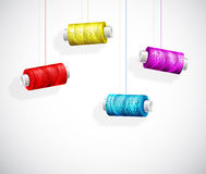 Bobbins of colorful thread Stock Photography