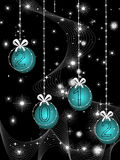 Hanging bobs with waves background  for new year Royalty Free Stock Photo