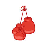 Hanging boxing gloves. Cartoon vector illustration Royalty Free Stock Photo