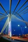 Hanging bridge. In evening with dark blue sky Stock Photo