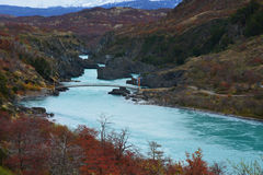 Hanging Bridge at Baker River, Chilean Patagonia Stock Images