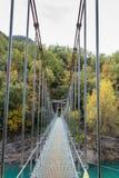 Hanging bridge over the river connecting hills Congost de Mont Rebei, Catalunya, Spain stock image