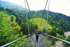Hanging Bridge - Hängebrügg-Biezli stock photo